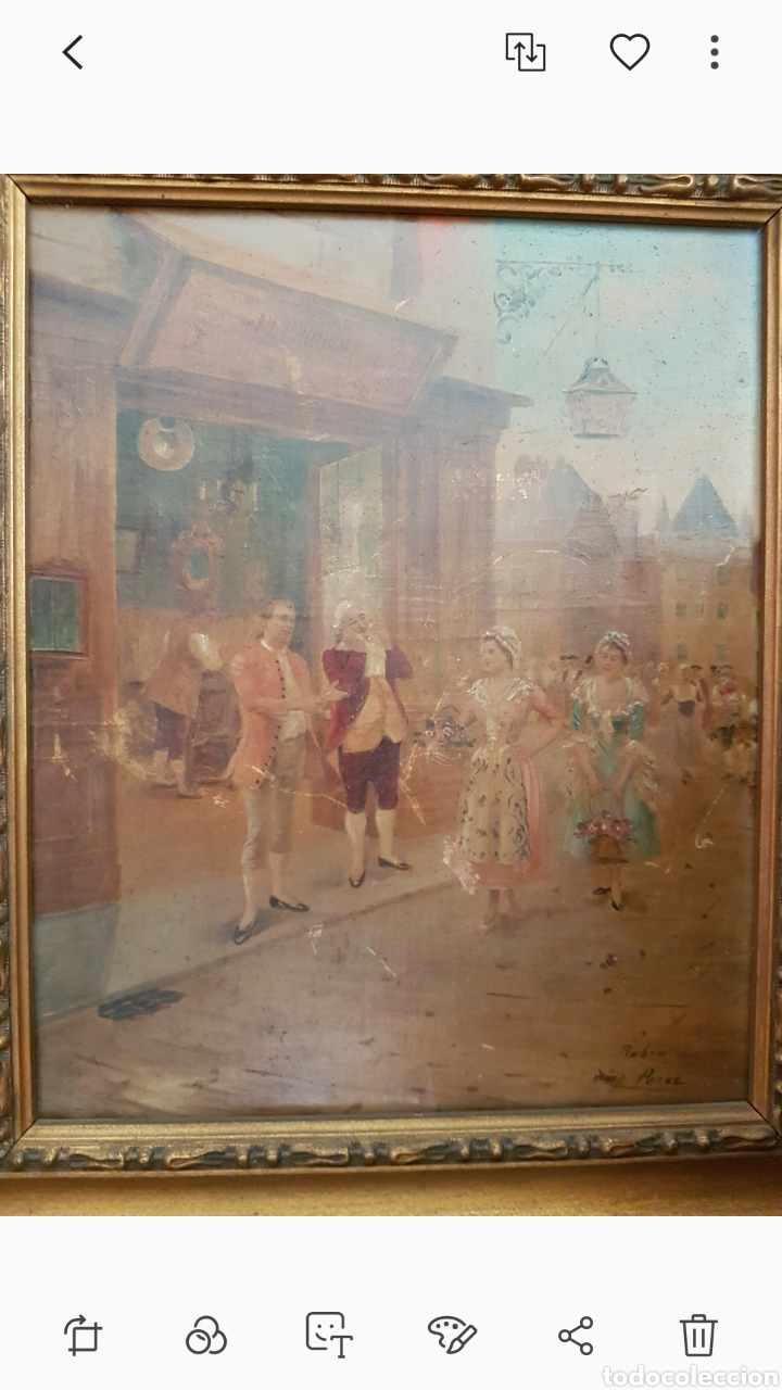 CUADRO EL ANTICUARIO AL OLEO MUY ANTIGUO ESCENA GALANTE....SIGLO XVIII ? APROX (Arte - Pintura - Pintura al Óleo Antigua siglo XVIII)