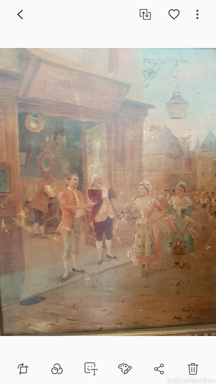 Arte: Cuadro el anticuario al oleo muy antiguo escena galante....siglo XVIII ? aprox - Foto 2 - 222396032