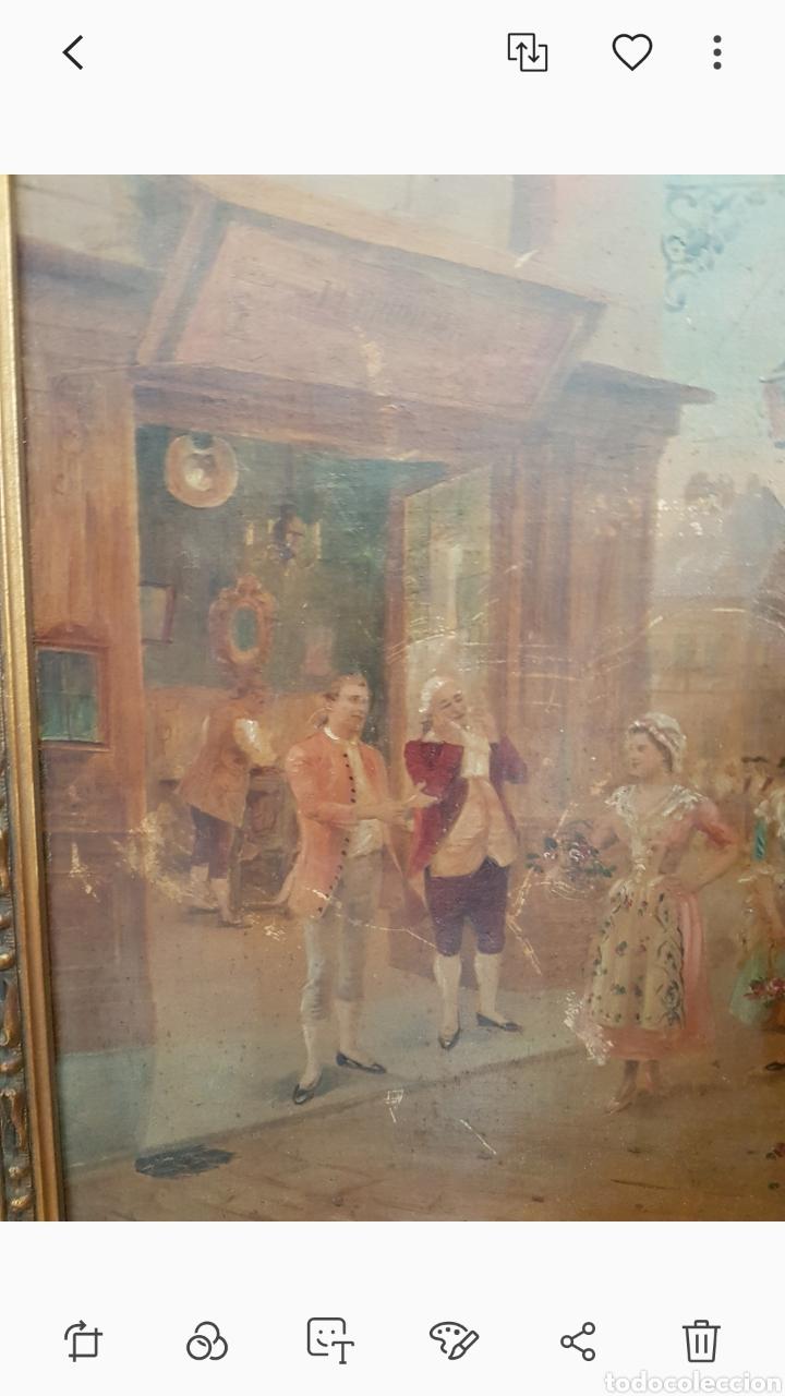 Arte: Cuadro el anticuario al oleo muy antiguo escena galante....siglo XVIII ? aprox - Foto 3 - 222396032