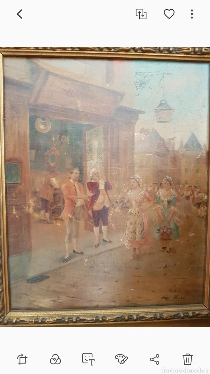 Arte: Cuadro el anticuario al oleo muy antiguo escena galante....siglo XVIII ? aprox - Foto 4 - 222396032