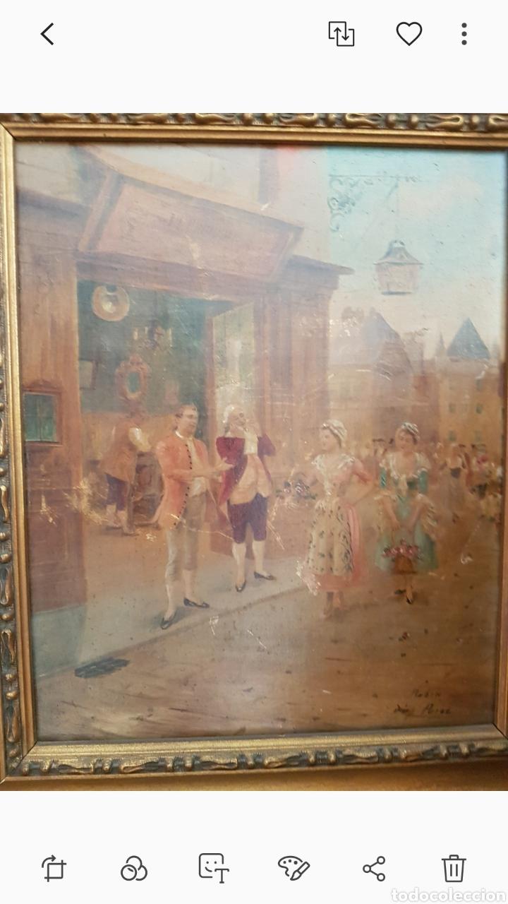 Arte: Cuadro el anticuario al oleo muy antiguo escena galante....siglo XVIII ? aprox - Foto 5 - 222396032