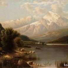 Arte: FIRMADA FR. RUTTER. OLEO SOBRE TELA DE APROXIMADAMENTE 1890. PAISAJE CON ALPES DE FONDO. Lote 222411905