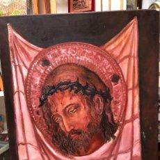 Arte: OLEO SOBRE LIENZO DE LA SANTA FAZ FIRMADO POR AUTOR - MEDIDA 73X60 CM - RELIGIOSO. Lote 222424818