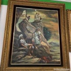 Arte: N620 ÓLEO HOMBRES EXPLORANDO NUEVOS TERRITORIOS. Lote 222439603