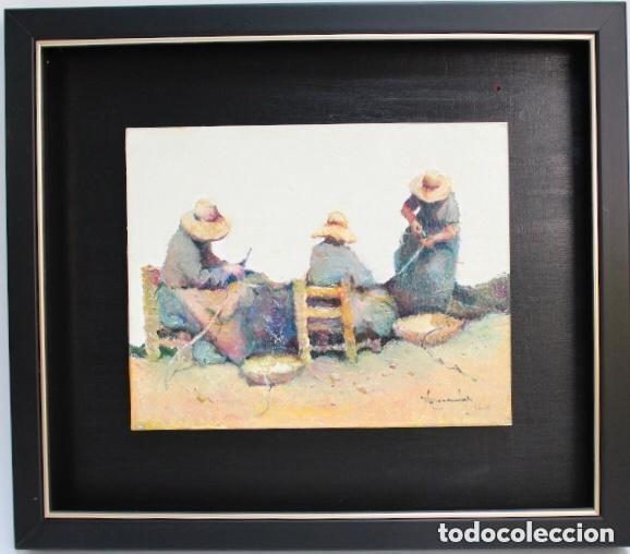 CUADRO OLEO TABLA RAMON POVEDA MUJERES TRABAJANDO MUY BIEN ENMARCADO (Arte - Pintura - Pintura al Óleo Contemporánea )