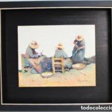 Arte: CUADRO OLEO TABLA RAMON POVEDA MUJERES TRABAJANDO MUY BIEN ENMARCADO. Lote 222459230