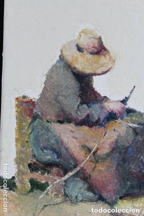 Arte: Cuadro Oleo Tabla RAMON POVEDA Mujeres Trabajando muy bien Enmarcado - Foto 2 - 222459230