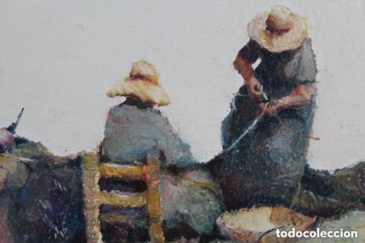 Arte: Cuadro Oleo Tabla RAMON POVEDA Mujeres Trabajando muy bien Enmarcado - Foto 3 - 222459230