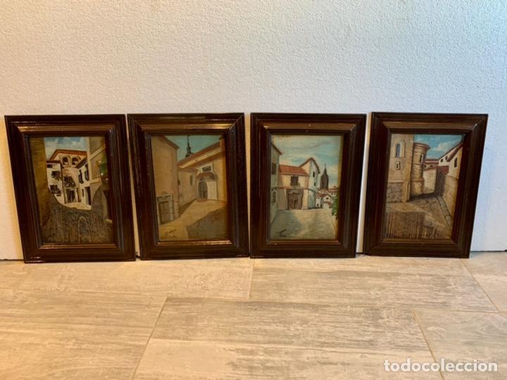 CONJUNTO DE 4 CUADROS AL OLEO SOBRE TABLA FIRMADOS (Arte - Pintura - Pintura al Óleo Moderna sin fecha definida)