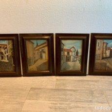 Arte: CONJUNTO DE 4 CUADROS AL OLEO SOBRE TABLA FIRMADOS. Lote 222483555