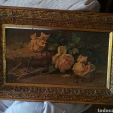 Arte: LUIS GRARITE TEJADA. (1858-1916). MALAGA. ROSAS CON ESPINAS.SOBRE TABLA.. Lote 222491506