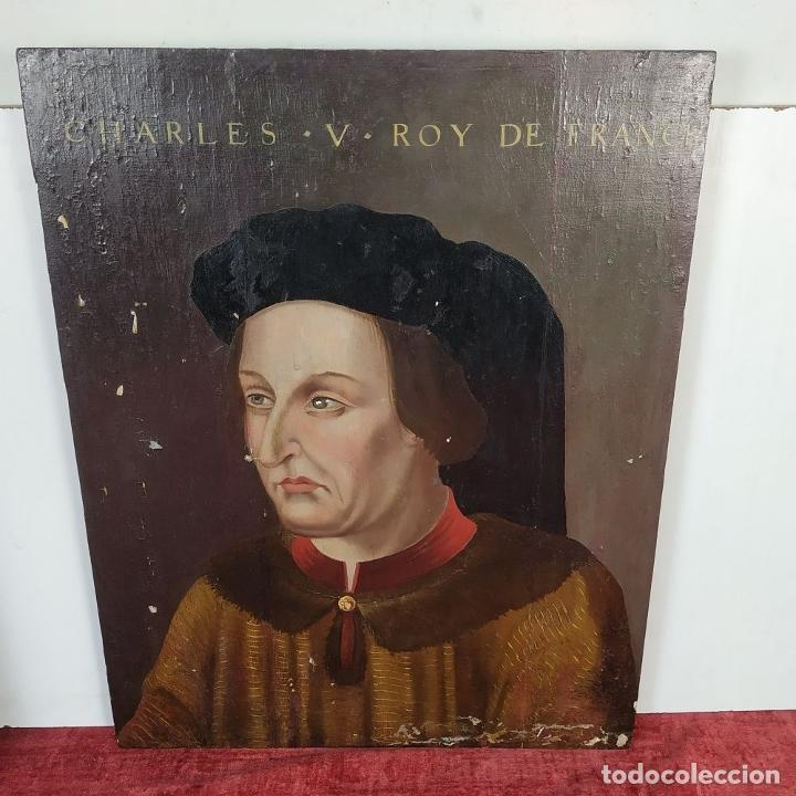 Arte: RETRATO DE CARLOS V REY DE FRANCIA. OLEO SOBRE TABLA. ANÓNIMO DE ESCUELA FLAMENCA. FRANCIA. XVI (?) - Foto 2 - 222537317