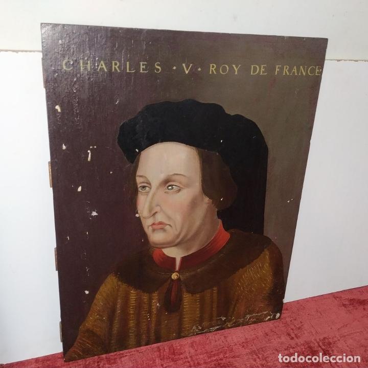 Arte: RETRATO DE CARLOS V REY DE FRANCIA. OLEO SOBRE TABLA. ANÓNIMO DE ESCUELA FLAMENCA. FRANCIA. XVI (?) - Foto 3 - 222537317