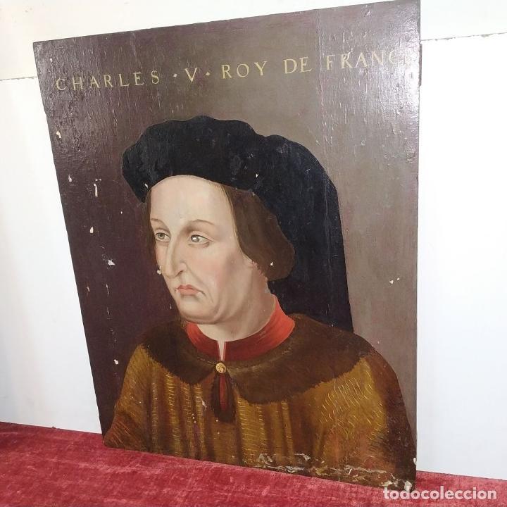 Arte: RETRATO DE CARLOS V REY DE FRANCIA. OLEO SOBRE TABLA. ANÓNIMO DE ESCUELA FLAMENCA. FRANCIA. XVI (?) - Foto 4 - 222537317