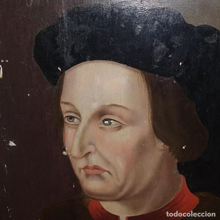 Arte: RETRATO DE CARLOS V REY DE FRANCIA. OLEO SOBRE TABLA. ANÓNIMO DE ESCUELA FLAMENCA. FRANCIA. XVI (?) - Foto 5 - 222537317