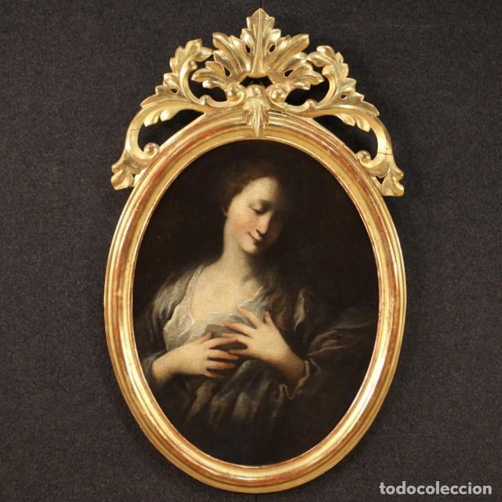 PINTURA FRANCESA ANTIGUA DE UN RETRATO FEMENINO DEL SIGLO XVIII. (Arte - Pintura - Pintura al Óleo Antigua siglo XVIII)