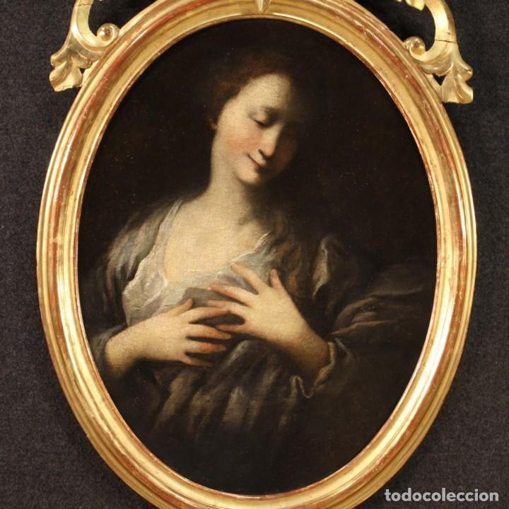 Arte: Pintura francesa antigua de un retrato femenino del siglo XVIII. - Foto 2 - 222564746