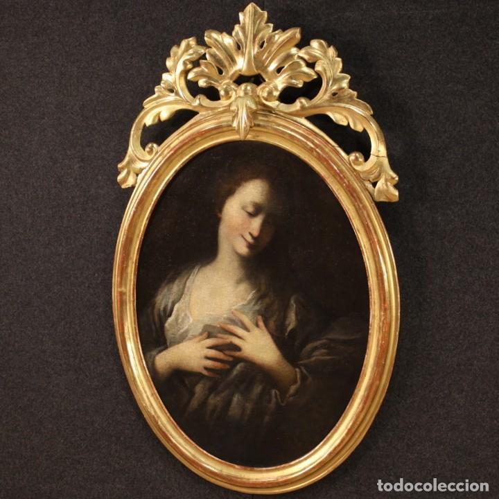 Arte: Pintura francesa antigua de un retrato femenino del siglo XVIII. - Foto 7 - 222564746