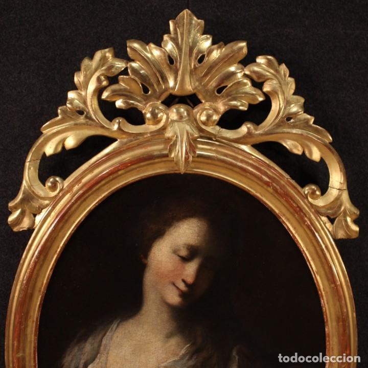 Arte: Pintura francesa antigua de un retrato femenino del siglo XVIII. - Foto 10 - 222564746