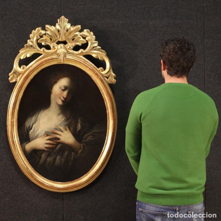 Arte: Pintura francesa antigua de un retrato femenino del siglo XVIII. - Foto 11 - 222564746