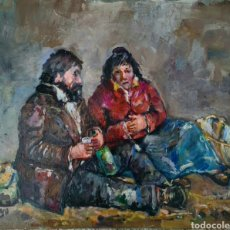 Arte: JOSE CORUJO, PRECIOSA PINTURA ( PEQUEÑA) MENDIGOS, FIRMADA.. Lote 222581341