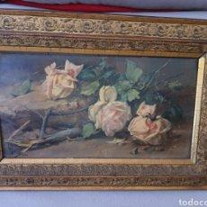 Arte: LUIS GRARITE TEJADA. (1858-1916). MALAGA. ROSAS CON ESPINAS.SOBRE TABLA 45X24CM.. Lote 222491506