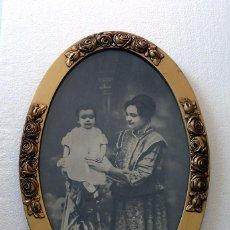 Arte: RETRATO DE ÉPOCA DE 1900 , ENMARCADO CON PAN DE ORO . ORIGINAL . 35 X 52 CTMS.. Lote 222587747