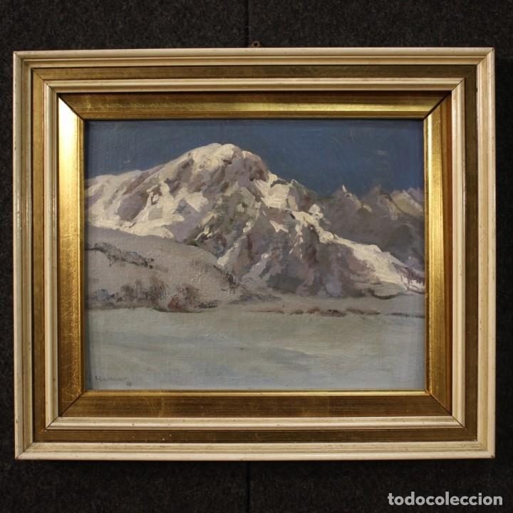 PINTURA ITALIANA FIRMADA PAISAJE DE MONTAÑA (Arte - Pintura - Pintura al Óleo Moderna sin fecha definida)