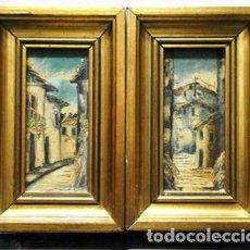 Arte: PAREJA DE CUADROS AL OLEO SOBRE TABLA ENMARCADOS PAISAJE URBANO - CUADRO-201. Lote 222636931