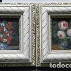 Arte: PAREJA DE CUADROS AL OLEO SOBRE TABLA ENMARCADOS FLOREROS - CUADRO-202. Lote 222637430