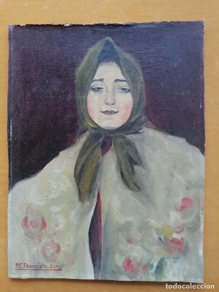 Arte: Busto de Joven por Francisco Barsó, Ca. 1910. Oleo sobre tela pegada sobre cartón. 44x33 cm. - Foto 2 - 222655795