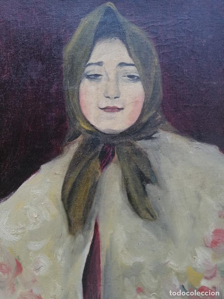 BUSTO DE JOVEN POR FRANCISCO BARSÓ, CA. 1910. OLEO SOBRE TELA PEGADA SOBRE CARTÓN. 44X33 CM. (Arte - Pintura - Pintura al Óleo Moderna sin fecha definida)