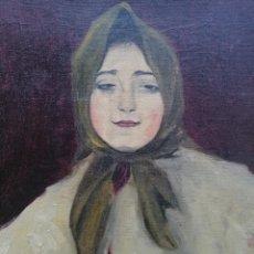 Arte: BUSTO DE JOVEN POR FRANCISCO BARSÓ, CA. 1910. OLEO SOBRE TELA PEGADA SOBRE CARTÓN. 44X33 CM.. Lote 222655795