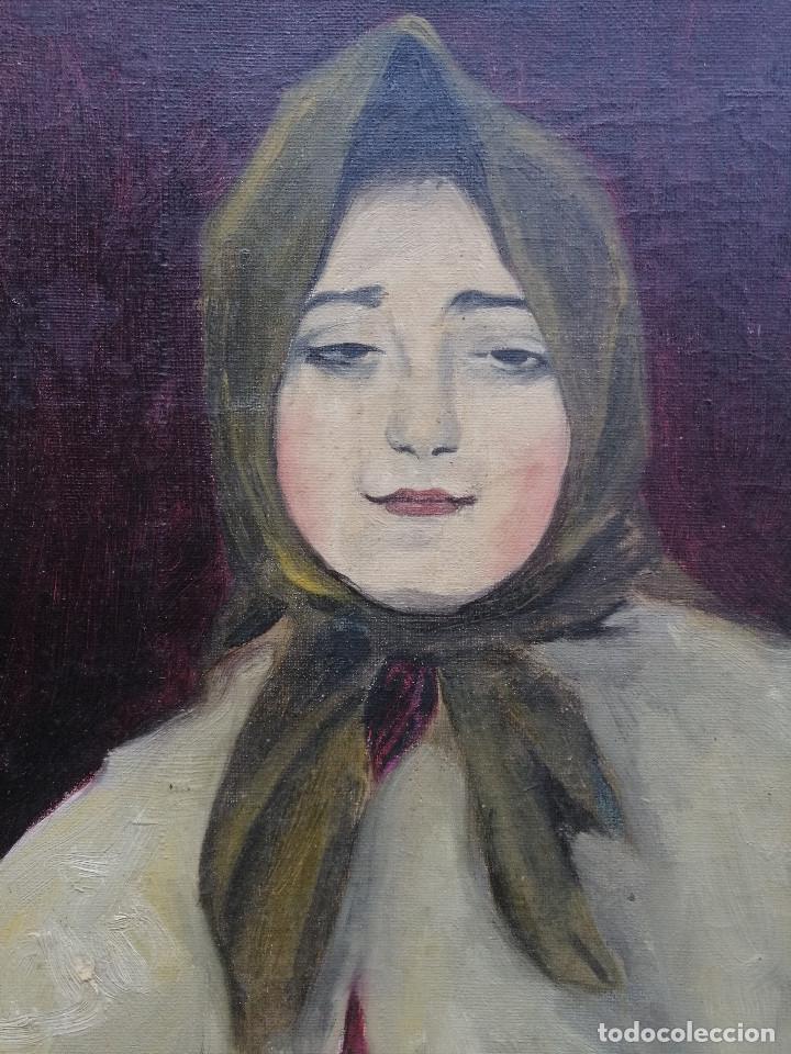 Arte: Busto de Joven por Francisco Barsó, Ca. 1910. Oleo sobre tela pegada sobre cartón. 44x33 cm. - Foto 3 - 222655795