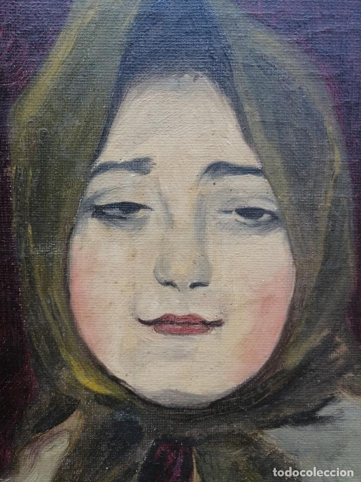 Arte: Busto de Joven por Francisco Barsó, Ca. 1910. Oleo sobre tela pegada sobre cartón. 44x33 cm. - Foto 5 - 222655795