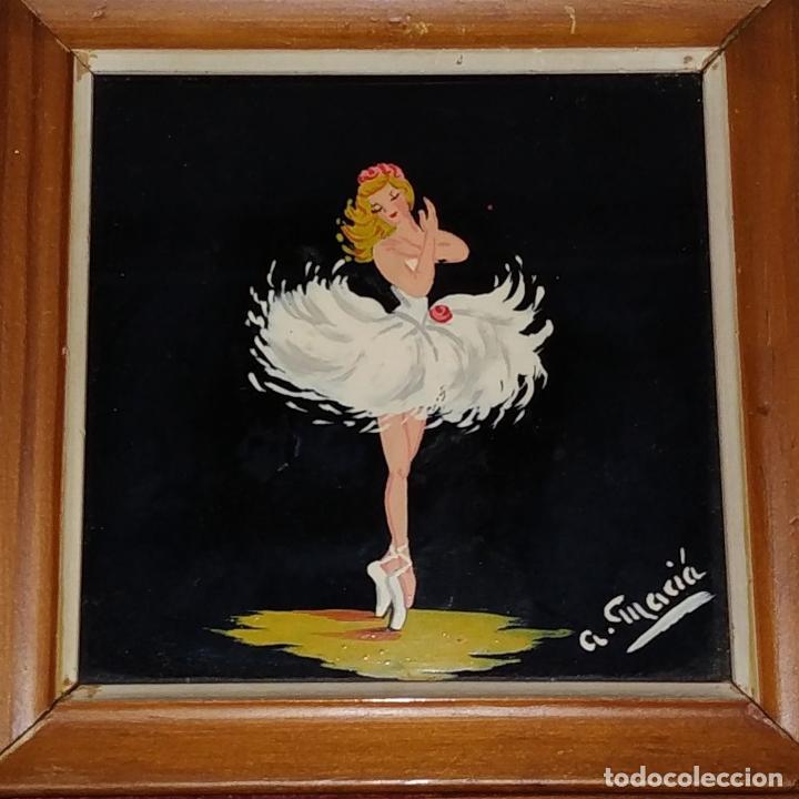 Arte: BAILARINAS. CONJUNTO DE 4 PINTURAS SOBRE CRISTAL. FIRMADAS A. MACIÁ. ESPAÑA. CIRCA 1940 - Foto 3 - 222676100