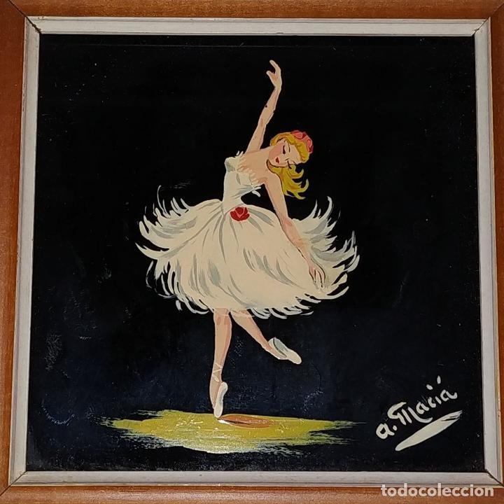 Arte: BAILARINAS. CONJUNTO DE 4 PINTURAS SOBRE CRISTAL. FIRMADAS A. MACIÁ. ESPAÑA. CIRCA 1940 - Foto 6 - 222676100