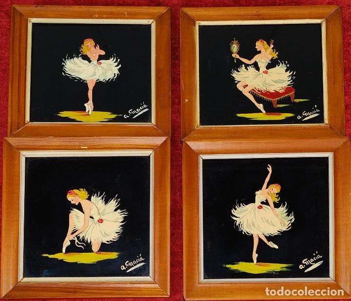 BAILARINAS. CONJUNTO DE 4 PINTURAS SOBRE CRISTAL. FIRMADAS A. MACIÁ. ESPAÑA. CIRCA 1940 (Arte - Pintura - Pintura al Óleo Contemporánea )