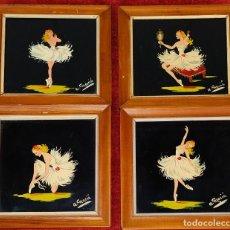 Arte: BAILARINAS. CONJUNTO DE 4 PINTURAS SOBRE CRISTAL. FIRMADAS A. MACIÁ. ESPAÑA. CIRCA 1940. Lote 222676100