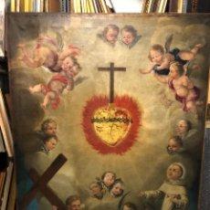 Arte: IMPRESIONANTE APOTEOSIS DE SANTO CON ROMPIMIENTO DE GLORIA Y ANGELES , ESC. COLONIAL S. XVIII. Lote 222710186