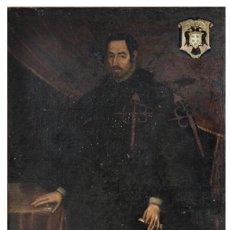 Arte: ÓLEO DEL SIGLO XVII - ESCUELA ESPAÑOLA - NOBLE DE LA ORDEN DE SANTIAGO - 196X108CM. Lote 222716933