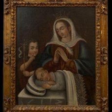 Arte: LA VIRGEN CON JESUS Y SAN JUANITO, S. XVII. Lote 222738866