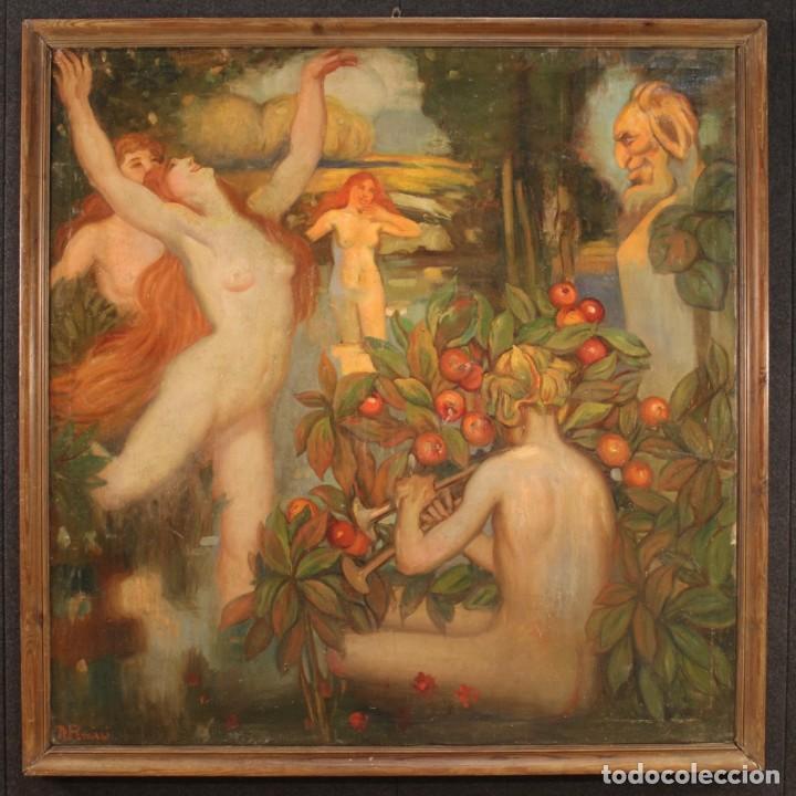 Arte: Pintura italiana firmada que representa desnudos - Foto 2 - 222745290