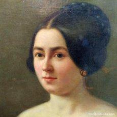 Arte: RETRATO DE DAMA. ÓLEO SOBRE LIENZO. FIRMADO A.(ANTOINE) VOLKMAR. FRANCIA(?). 1849. Lote 222796195