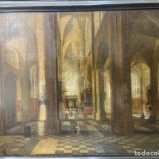 Arte: INTERIOR DE IGLESIA ÓLEO SOBRE LIENZO. Lote 222819996