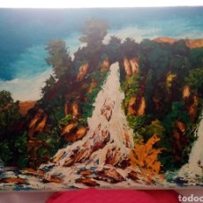 Arte: PRECIOSA PINTURA DE GRANDES DIMENSIONES. LA CASCADA. ÓLEO SOBRE CARTÓN. 105CM X 75CM. Lote 222904187