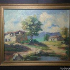 Arte: ANTIGUA PINTURA OLE ,PAISAJE RURAL , ESCUELA CATALANA ,FIRMADO GIL. Lote 223238023