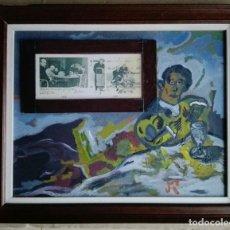 """Arte: ANTONI MARTÍ (SEUDÓNIMO, CASSERRES 1960). ÓLEO COLLAGE SOBRE TÁBLEX - """"EL BEBEDOR DE ABSENTA"""". Lote 223256327"""