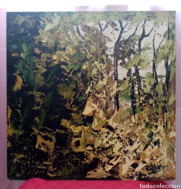 Arte: Rareza. Estupenda pintura Obra y ensayo. Obra: bosque escondido. Combina diferentes tonos verdes - Foto 3 - 223328157