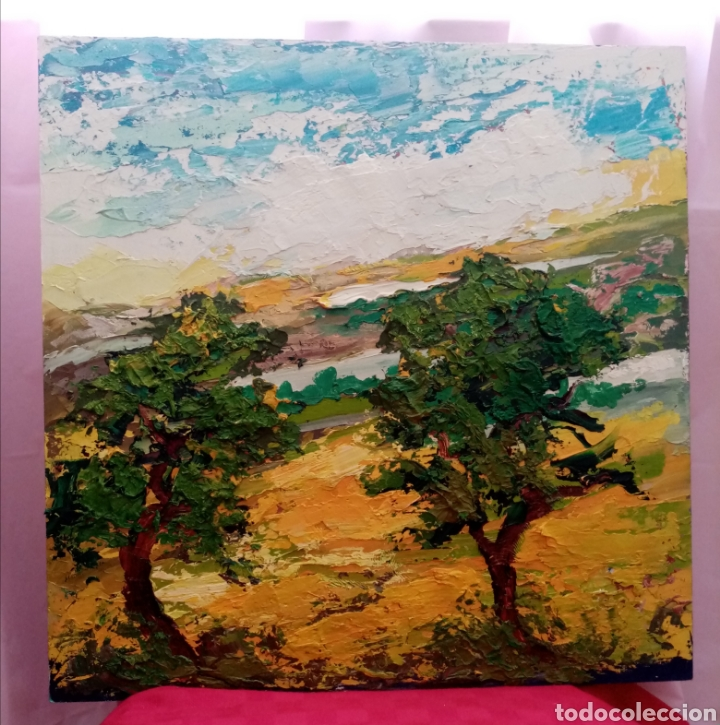 Arte: Rareza. Estupenda pintura Obra y ensayo. Obra: bosque escondido. Combina diferentes tonos verdes - Foto 4 - 223328157